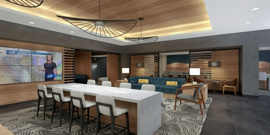 A rendering of the new lobby bar being built as part of the Chicago Marriott Schaumburg's $22 million renovation taking place this summer.