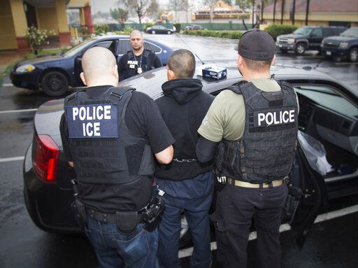 FILE - In this Feb. 7, 2017, file photo released by U.S. Immigration and Customs Enforcement, foreign nationals are arrested during a targeted enforcement operation conducted by U.S. Immigration and Customs Enforcement (ICE) aimed at immigration fugitives, re-entrants and at-large criminal aliens in Los Angeles. Immigrant families and advocates are warning about planned arrests around the country by the Immigration and Customs Enforcement agency. But little is known about the agency's work and how it carries out arrests of people suspected of being in the country illegally. (Charles Reed/U.S. Immigration and Customs Enforcement via AP, File)