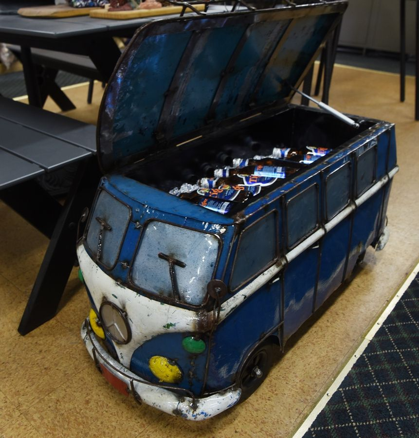 Northwest Metalcraft in Arlington Heights sells a Volkswagen-inspired minibus cooler to keep your beverages cold.