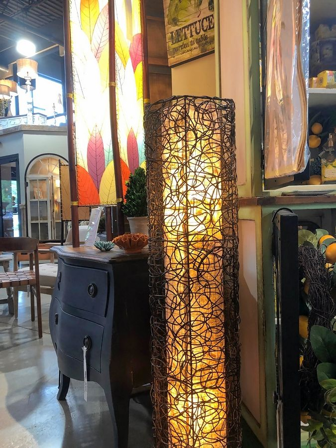Lurvey's offers floor lamps decorated with hand-woven natural vine.