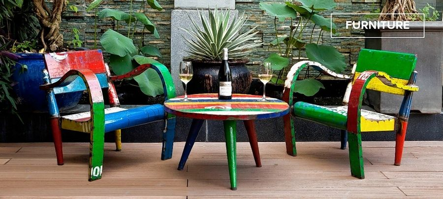This colorful, retro, metal patio set is reminiscent of the psychedelic Sixties era.