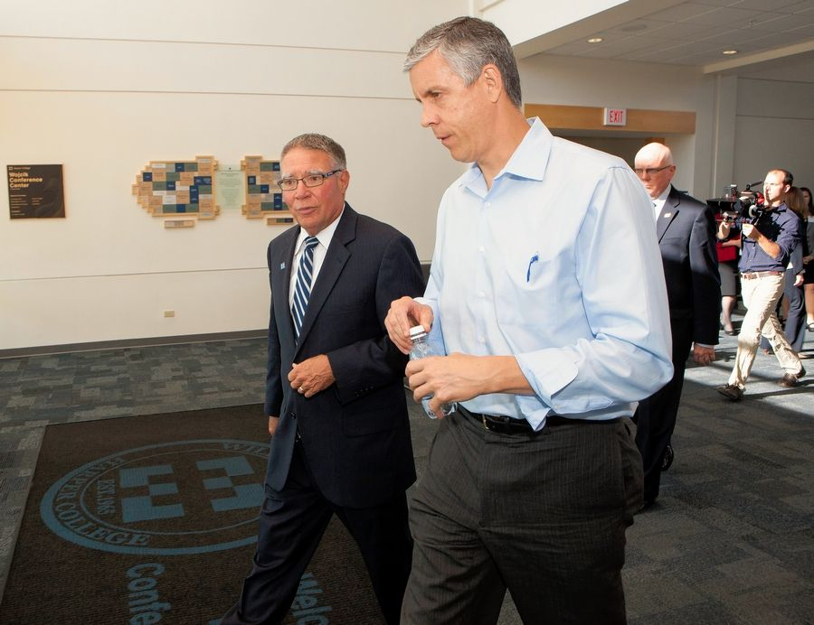 Harper College President Ken Ender, from left, welcomed then-Secretary of Education Arne Duncan to campus in 2015 to recognize the school's Promise Scholarship program. Classes for the first cohort of Promise freshmen begin this fall.
