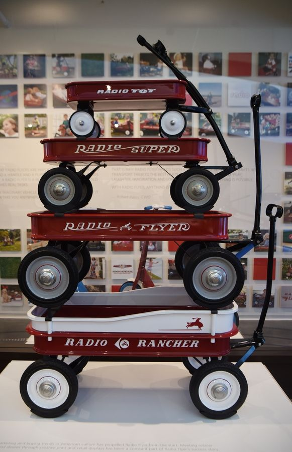 Wagons on display at Radio Flyer in Chicago.
