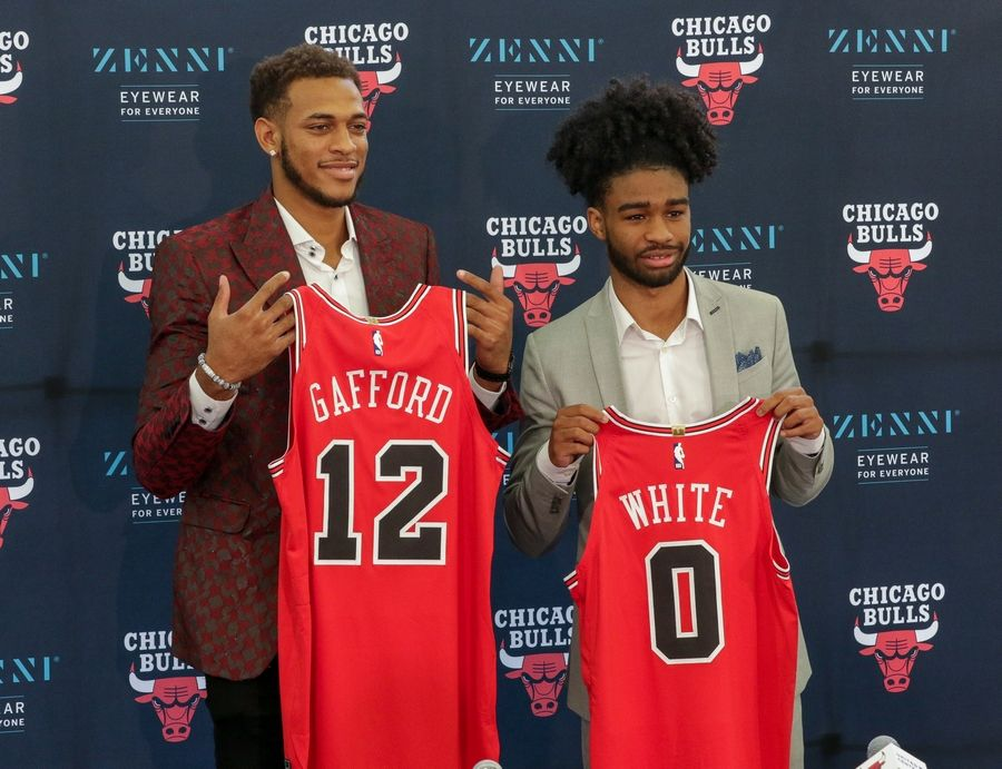Bev Horne/bhorne@dailyherald.comThe Chicago Bulls top two picks from the NBA draft, Daniel Gafford, left, and Coby White, right, at the Advocate Center in Chicago on Monday.