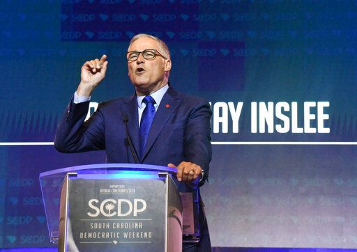 Washington Gov. Jay Inslee addresses the South Carolina Democratic Party convention, Saturday, June 22, 2019 in Columbia, S.C..