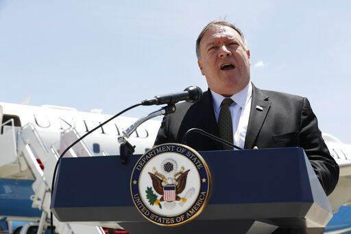 Secretary of State Mike Pompeo speaks to the media at Andrews Air Force Base, Md., Sunday, June 23, 2019, before boarding a plane headed to Jeddah, Saudi Arabia.