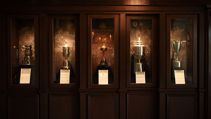 Inside the clubhouse is a case of replica trophies from championships Medinah has hosted over the course of the club's storied history.