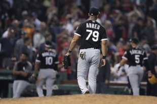 Chicago White Sox first baseman Jose Abreu and teammates walk off the field Monday after a loss to the Boston Red Sox at Fenway Park in Boston.