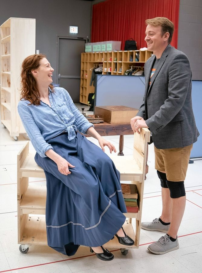"Monica West and Geoff Packard rehearse for Goodman Theatre's revival of ""The Music Man,"" directed by artistic associate Mary Zimmerman."