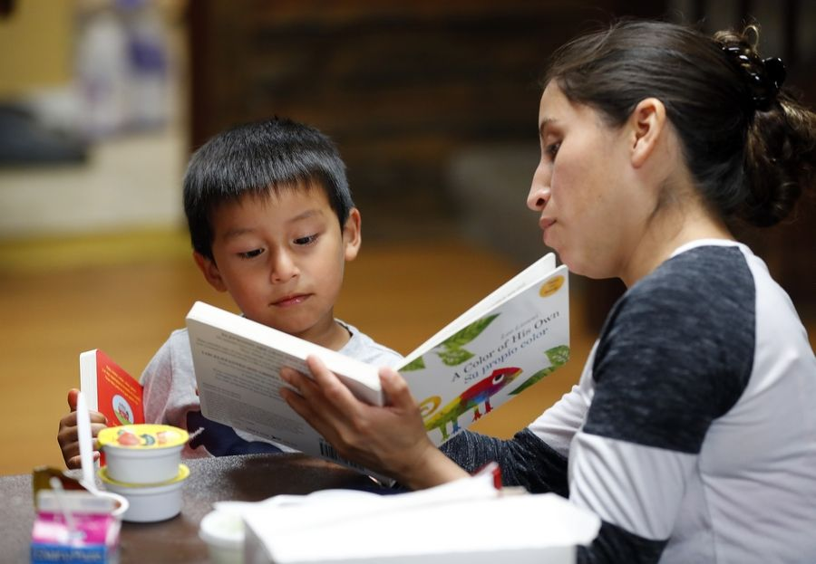 Rosalee Sanchez of Elgin reads to her son Luis, 3, after eating lunch Tuesday during a free summer lunch program at Izaak Walton Center in Elgin. The books and learning activities were provided by Elgin Area School District U-46 and its partners to promote early learning.