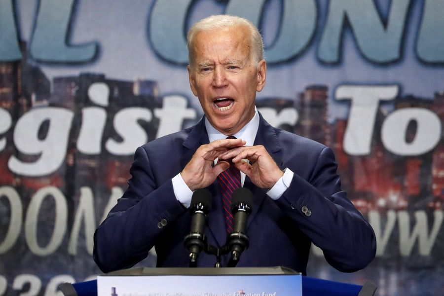Democratic presidential candidate former Vice President Joe Biden addresses the Rainbow PUSH Coalition Annual International Convention Friday in Chicago.