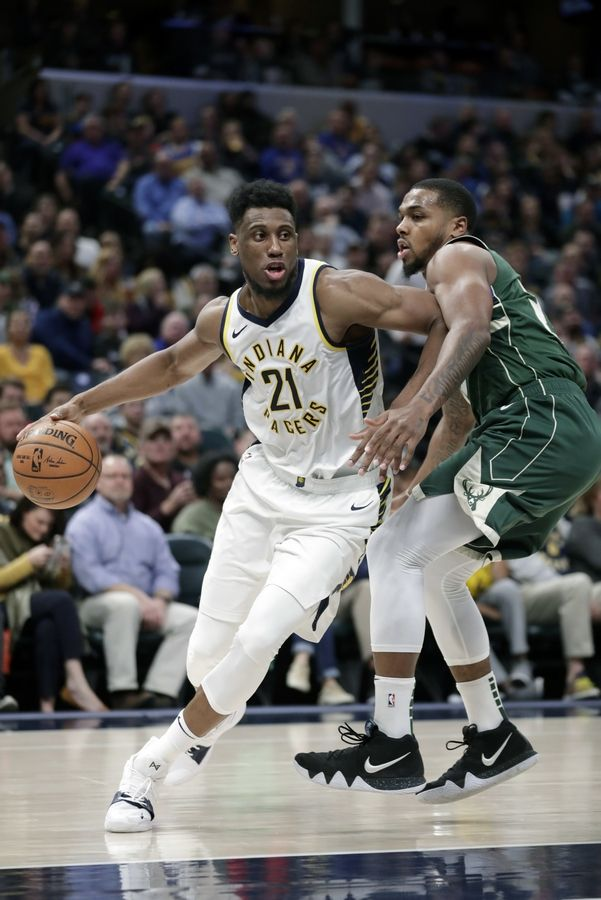 The Chicago Bulls on Sunday agreed to terms with free agent and former Indiana Pacers forward Thaddeus Young, here driving on Milwaukee Bucks guard Sterling Brown.