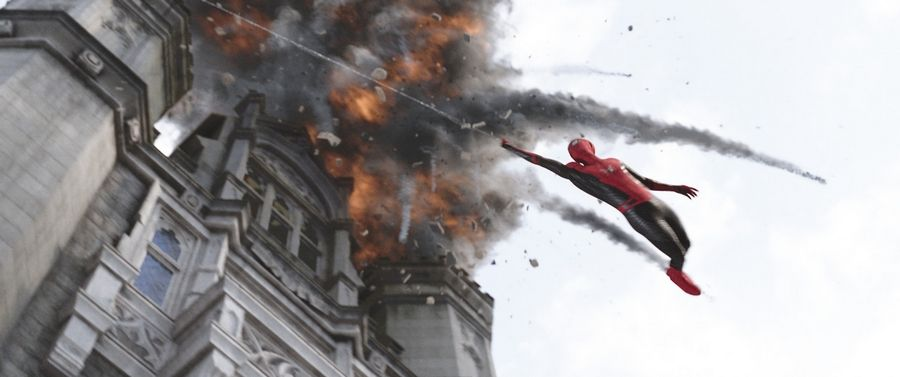 "Peter Parker (Tom Holland) fights a new world threat in ""Spider-Man: Far From Home."""