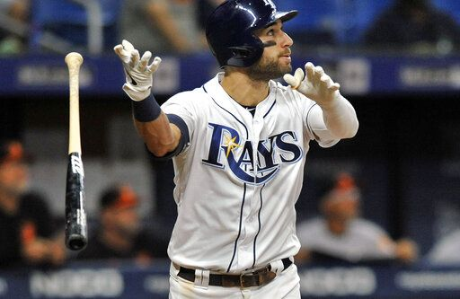Tampa Bay Rays' Kevin Kiermaier flips his bat as he watches his three-run home run off Baltimore Orioles reliever Branden Kline during the sixth inning of a baseball game Monday, July 1, 2019, in St. Petersburg, Fla.