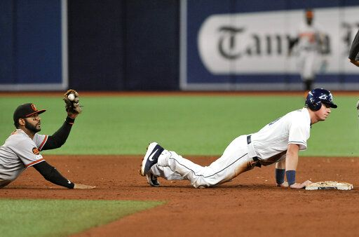 Baltimore Orioles shortstop Jonathan Viillar holds up his glove after tagging out Tampa Bay Rays' Brendan McKay, right, on a pickoff throw from catcher Pedro Severino during the sixth inning of a baseball game Monday, July 1, 2019, in St. Petersburg, Fla.