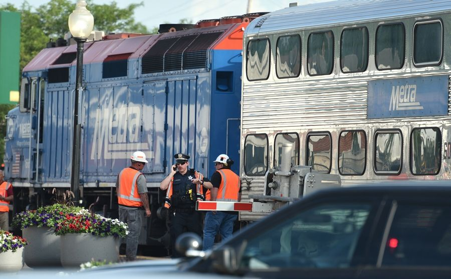 Metra UP Northwest train service has been stopped near Cary after a train hit a person.