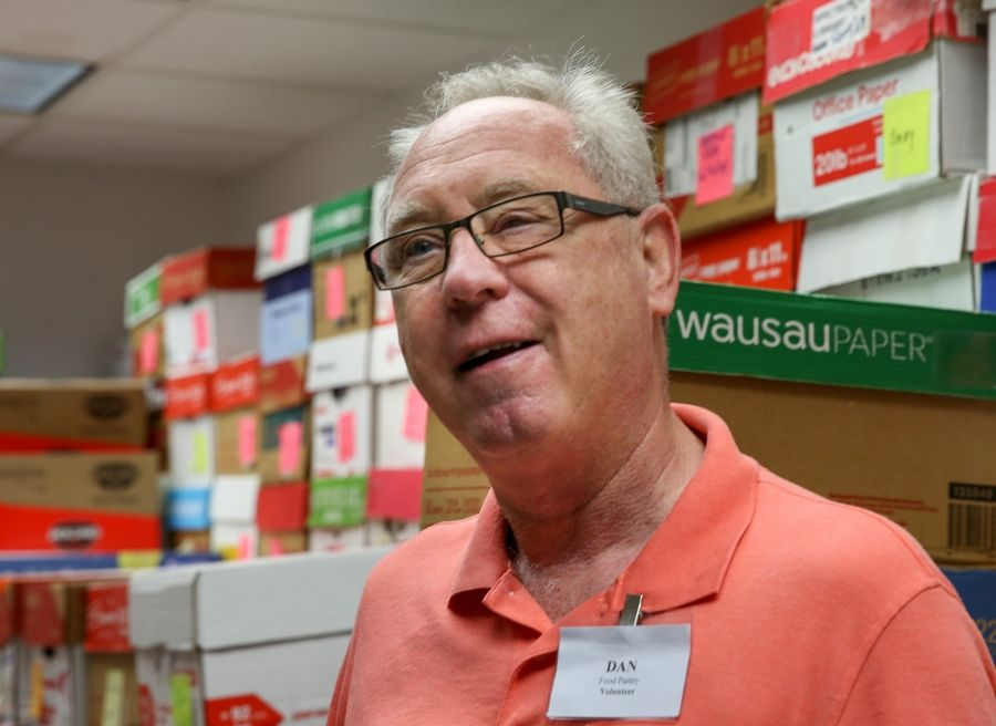 Vietnam-era Army veteran Dan Callender of Hoffman Estates organizes donations at the Schaumburg Township Food Pantry.