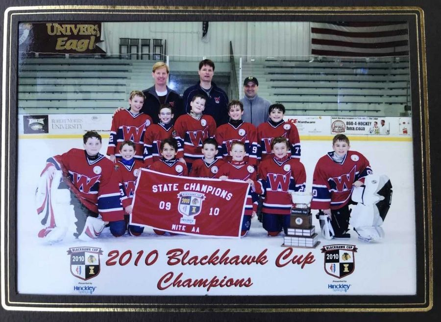 John Vlasic, center of top row, coached son Alex, middle row far left, on a state championship team.