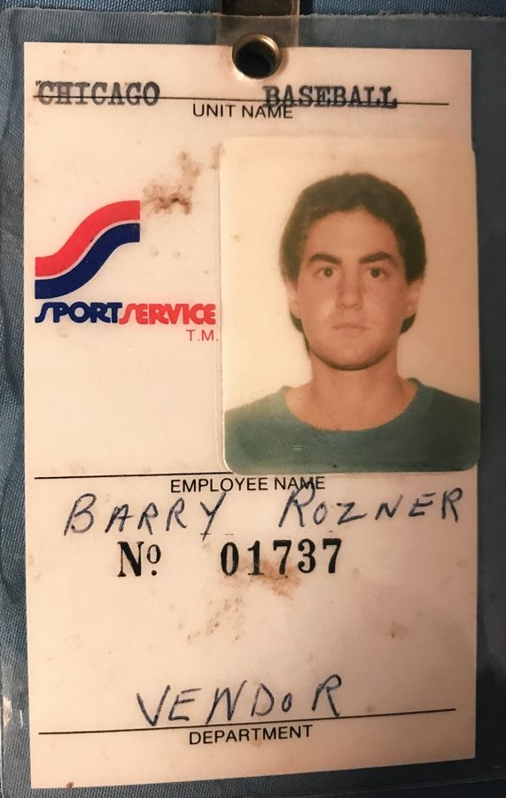 Barry Rozner's vendor badge from Comiskey Park, where he worked on Disco Demolition Night.