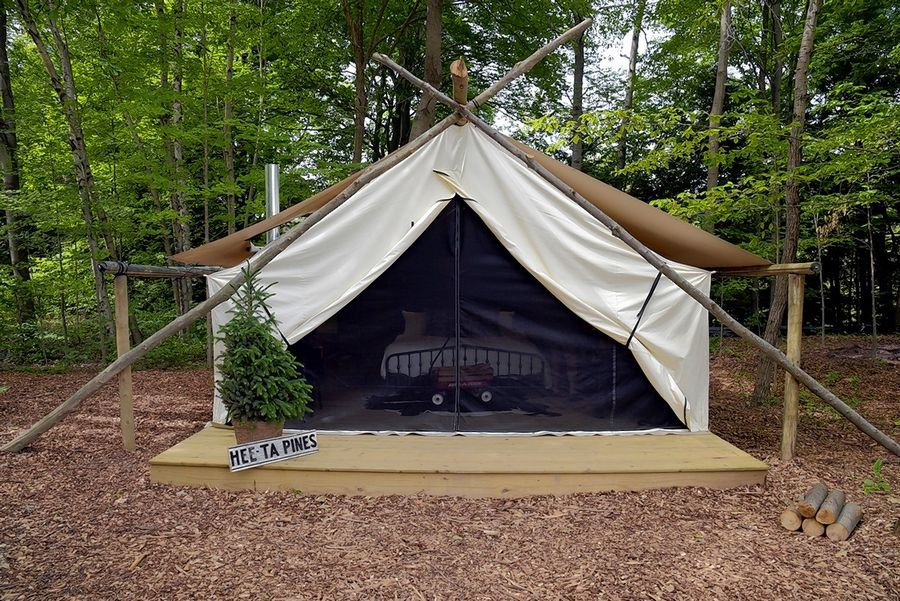 The Fields of Michigan offers upscale tent accommodations complete with a king-size bed and luxury linens.
