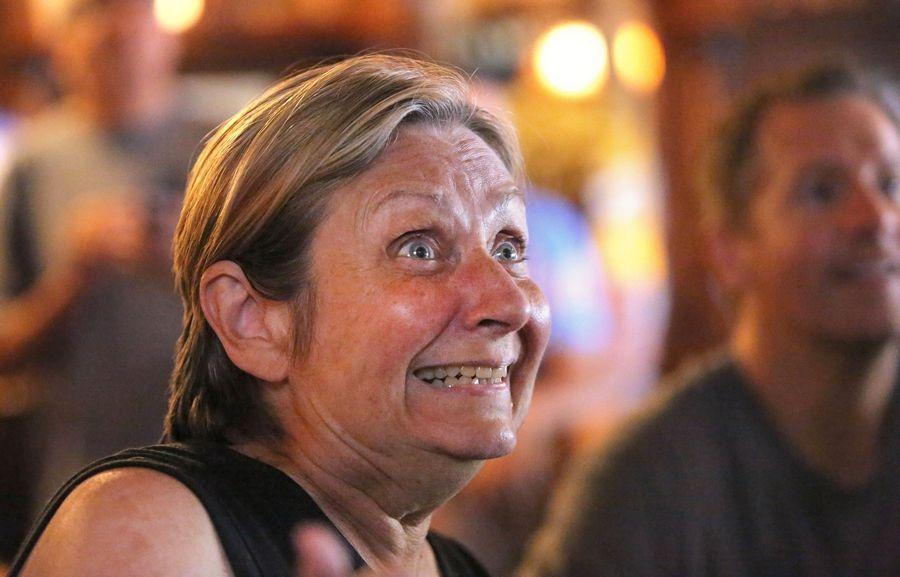 Carol Sawka of Naperville watches the action intently Sunday during a Women's World Cup Final watch party at Quigley's Irish Pub in Naperville.