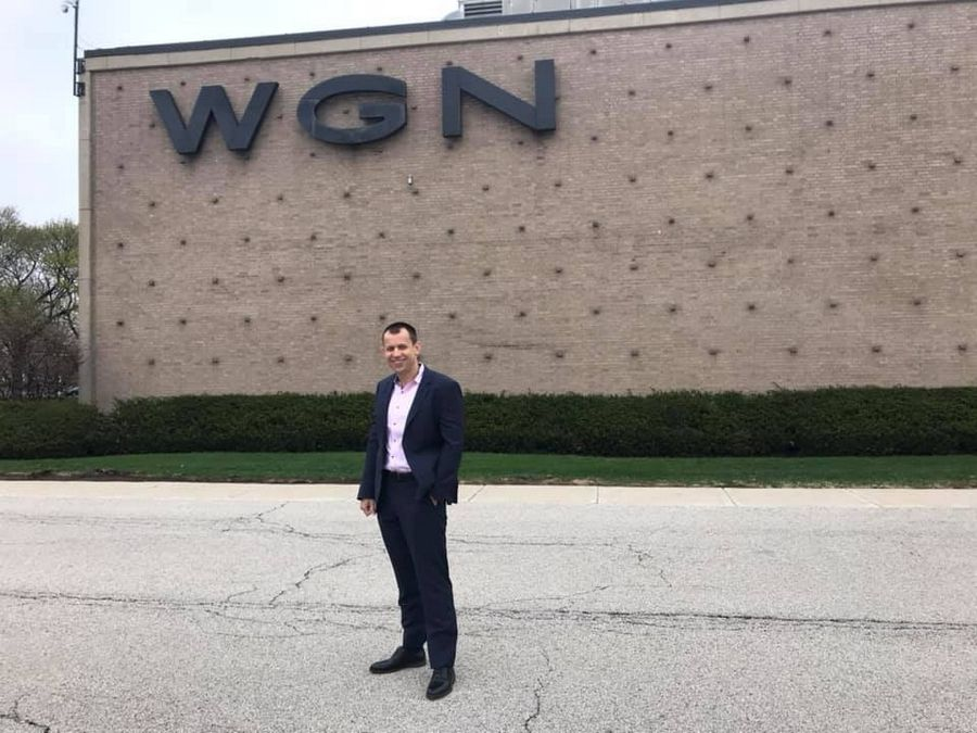 Dr. Yaroslav Yarmolyuk in front of the WGN Chicago Studio. Ben Weisberg, Marketing Coordinator of Orthodontic Experts