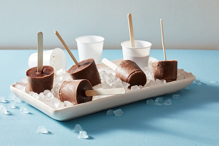 You will need eight 2-ounce ice pop molds or small paper cups and craft sticks to make Chocolate Pudding Pops.
