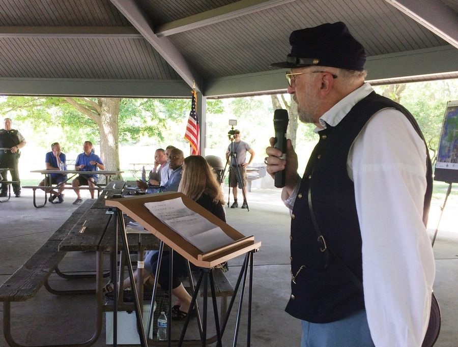 "David Eisele, a Civil War ""living historian,"" addresses the Lake County Forest Preserve District board during its meeting Wednesday at Lakewood Forest Preserve near Wauconda."