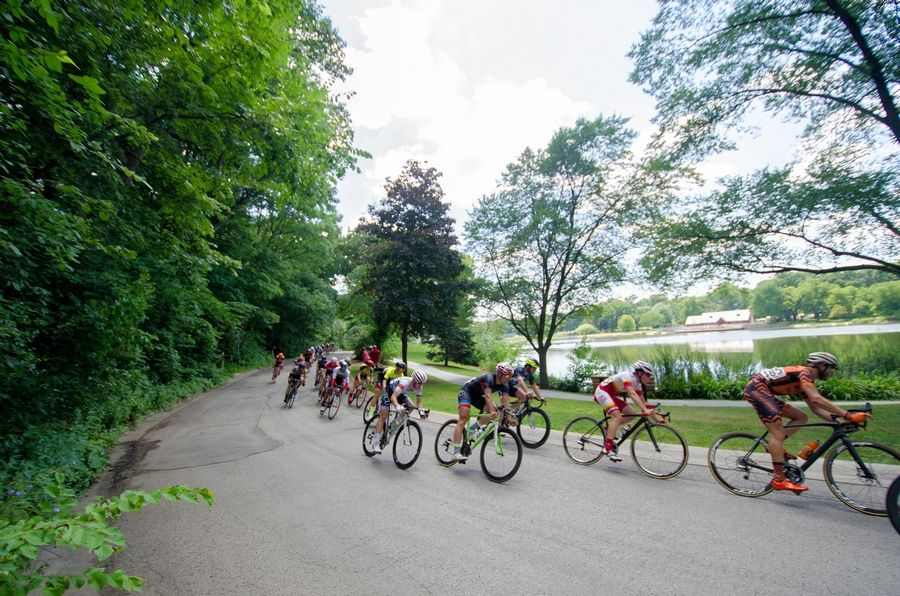 A committee of cycling enthusiasts stages the Glen Ellyn leg of the Intelligentsia Cup at a lakeside venue.
