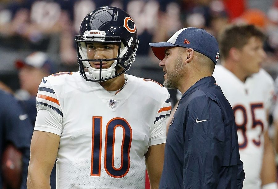 Chicago Bears quarterback Mitchell Trubisky (10) talks with Bears head coach Matt Nagy, right, prior to an game against the Arizona Cardinals in Glendale, Arizona, in September.