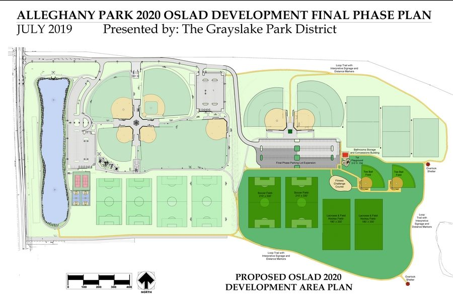 The proposal for the phase of development at Alleghany Park includes soccer fields, lacrosse/field hockey fields, t-ball fields, a fitness challenge course, a tot play area, and nature trail.3D Design Studio