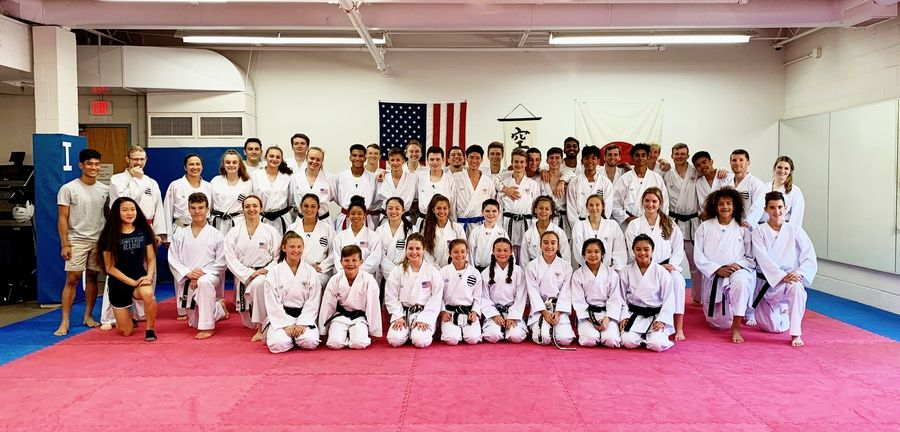 ISKC Competitors gather for a group photo after training for National Competition at ISKC Dojo in PalatineISKC Staff