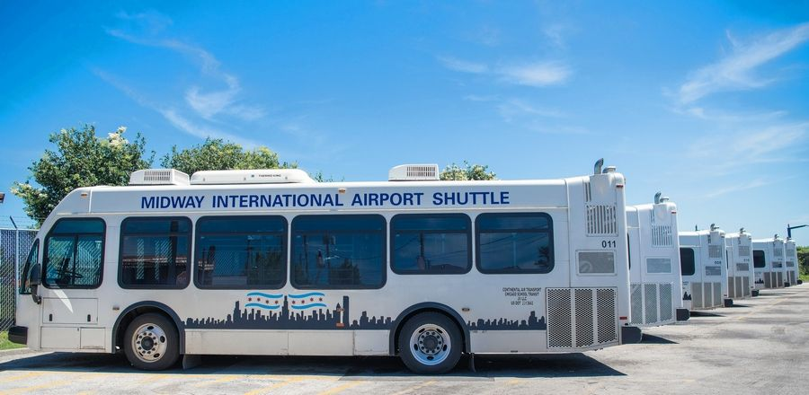 Airline passengers at Chicago Midway International Airport breathe easier, thanks to airport shuttle buses fueled with biodiesel.