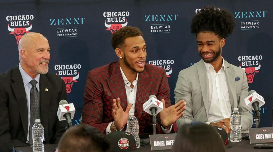 Bev Horne/bhorne@dailyherald.comThe Chicago Bulls top two picks from the NBA draft, Daniel Gafford and Coby White at the Advocate Center in Chicago.