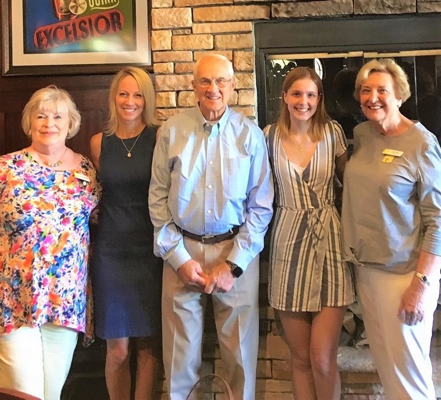 Grace Keane, second from right, is the 2019 recipient of the Jan Bateman Willenborg Scholarship, offered by the P.E.O. Chapter OB/St. Charles. Also pictured are, from left, Heide Hughes, P.E.O. past president, Chapter OB/IL; Leigh Ann Klaus, Willenborg's daughter; Bob Willenborg, Willenborg's husband; and Pat Todas, P.E.O. OB/IL scholarship committee.