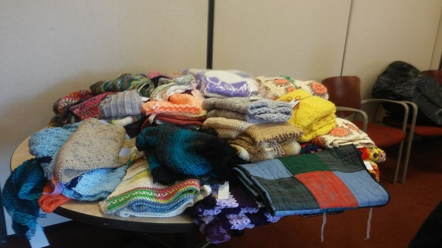 The Hanover Township Knit and Crochet Club creates shawls, chemo hats and more for delivery to Northwest Oncology.