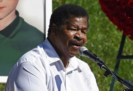 "FILE - In this Oct. 8, 2017 file photo, singer Jerry Lawson performs the song ""Lay Down"" at a life celebration and statue unveiling for the late actor Anton Yelchin at Hollywood Forever Cemetery in Los Angeles. Lawson, for four decades the lead singer of cult favorite acapella group the Persuasions, has died. Longtime friend Rip Rense says Lawson died Wednesday, July 10, 2019 in Phoenix after a long illness. He was 75. (Photo by Chris Pizzello/Invision/AP, File)"