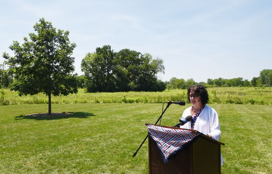 With the proposed route behind her, Barbara Klipp of Midwest Sustainability Group speaks during a news conference about the end of the Route 53 expansion plan, held at the Heron Creek Forest Preserve in Long Grove Friday.
