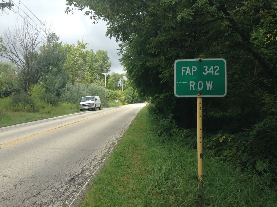 A sign marks the proposed Route 53 along Indian Creek Road in Hawthorn Woods, which opposed the highway extension.