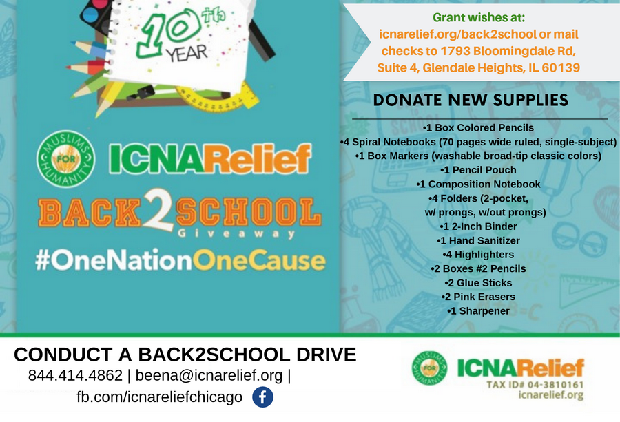 Drop off/ship new supplies to ICNA Relief 1793 Bloomingdale Rd, Glendale Heights, IL 60139. We will distribute all the supplies to needy children throughout the Chicago land area.