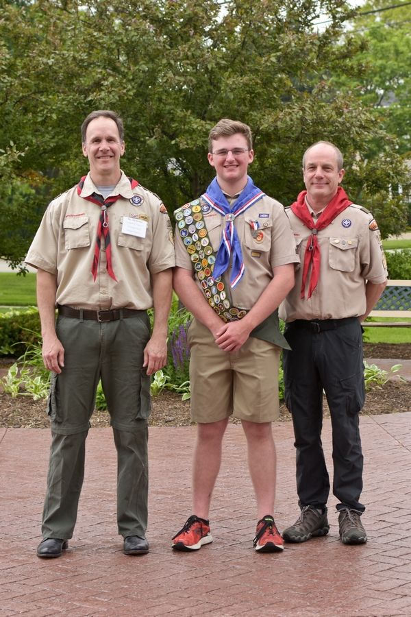 Eagle Scout Ben Kossack (center) shown with Scoutmaster Jim Errico (left) and Assistant Scoutmaster Dan Burkhardt (right)Zee Lacson