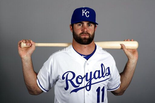 FILE - In this Feb. 21, 2019, file photo, Kansas City Royals' Bubba Starling poses with a baseball bat. Starling has finally reached his goal of getting to the major leagues with the Royals.