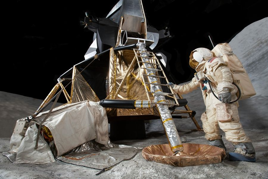 The Lunar Module Trainer that the Apollo astronauts used for practice is at the Museum of Science and Industry in Chicago as part of its Henry Crown Space Center.