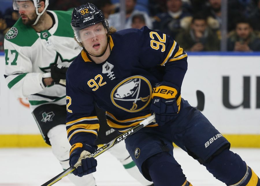 FILE - In this Tuesday, March 12, 2019 file photo, Buffalo Sabres forward Alexander Nylander (92) skates during the third period of an NHL hockey game against the Dallas Stars in Buffalo N.Y. The Chicago Blackhawks have traded defenseman Henri Jokiharju to the Buffalo Sabres for underachieving forward Alex Nylander, Tuesday, July 9, 2019.