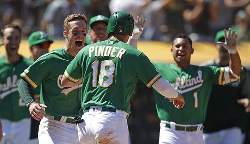 Oakland Athletics' Chad Pinder (18) celebrates with Mark Canha, left, and Franklin Barreto (1) after scoring the game winning run against the Chicago White Sox at the end of a baseball game Sunday, July 14, 2019, in Oakland, Calif. Pinder scored on a throwing error by Chicago's Jose Rondon.