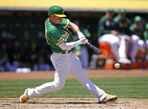 Oakland Athletics' Matt Chapman connects for an RBI groundout off Chicago White Sox Reynaldo Lopez in the third inning of a baseball game Sunday, July 14, 2019, in Oakland, Calif.