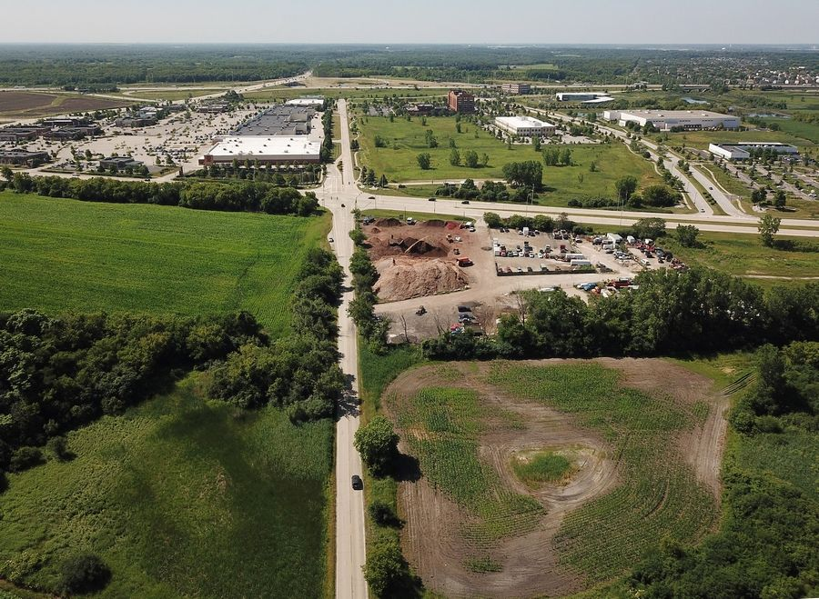 Hoffman Estates is proposing a tax increment financing district for an area at the northeast and northwest corners of Higgins and Old Sutton roads. This view looks south toward Higgins Road, with Old Sutton Road at the center.