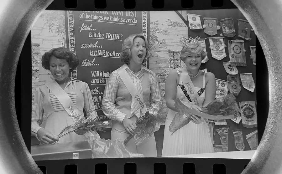 The Daily Herald Archive, Assignment # 44,776, Barry Jarvinen photo: Lee Ann Deneen, right, was crowned Schaumburg's Miss Septemberfest in 1977. Cathy Steinmetz, center, and Pat Schellhase were named runners-up.