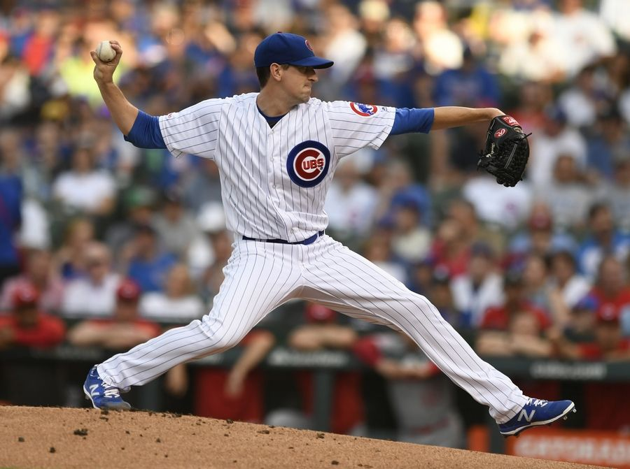 Chicago Cubs starter Kyle Hendricks delivers a pitch during the first inning of a baseball game against the Cincinnati Reds, Monday, July 15, 2019, in Chicago.