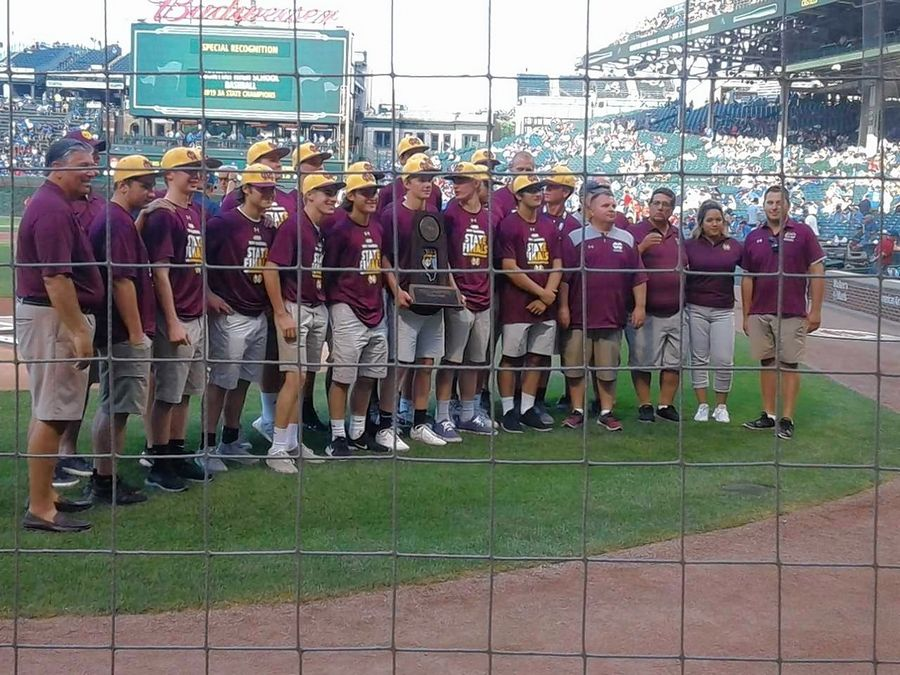 The Class 3A champion Montini Catholic (Lombard) High School team was honored by the Chicago Cubs before Monday night's game against the Cincinnati Reds at Wrigley Field.